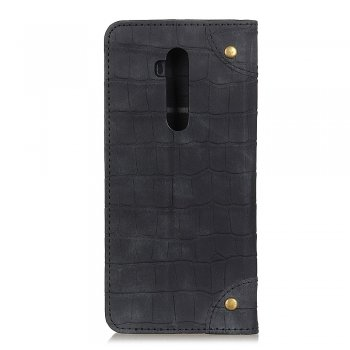 OnePlus 7T Pro Magnetic Crocodile Skin PU Leather Wallet Case Cover, black | Чехол, кошелёк