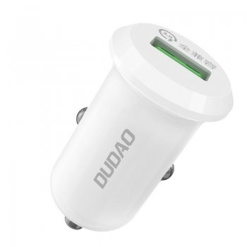 Dudao Car Charger USB Quick Charge 3.0, 4A, 15W, White
