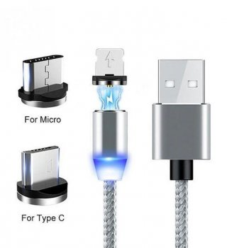 Magnētisks USB Lādētājvads 3in1 (Type C, Micro USB, Apple Lightning iPhone iPad), 1m | Magnetic USB Cable