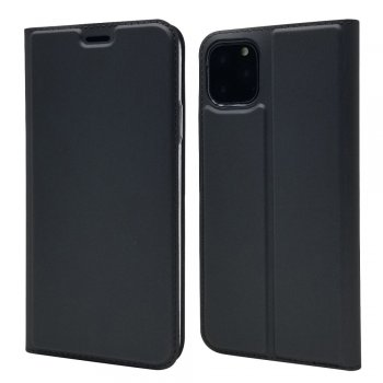 Apple iPhone 11 Pro Magnetic Adsorption Leather Case with Card Slot, Black | Vāciņš maciņš apvalks, Melns