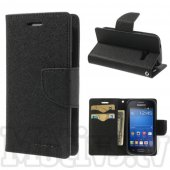 Samsung Galaxy Trend Lite S7390 Fresh S7392 Mercury Goospery Fancy Diary Case Leather Cover, black – aksesuārs vāks maks