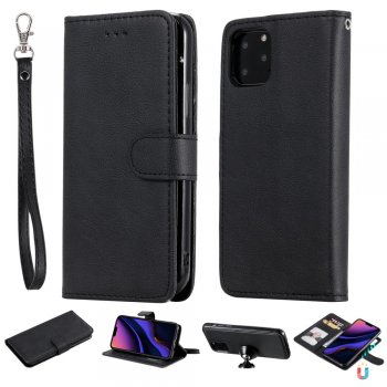 Apple iPhone 11 Pro PU Leather Case Cover Wallet, Black | Vāciņš maciņš apvalks, Melns