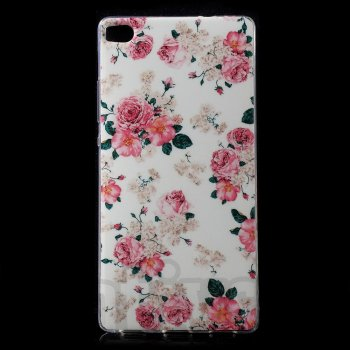 "Huawei Ascend P8 5.2"" Winter TPU case cover shell, rose flowers - vāks vāciņš maks maciņš"