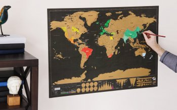 Poster with World Travel Map, Gift Scratch 82 x 59 cm