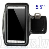 "Sport Armband pouch case Size L (up to 5.5"") for Iphone 6s/7 Plus, black - universāls sporta maciņš"