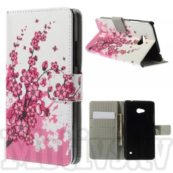 Microsoft Lumia 640 RM-1109 Dual SIM Colorize! Leather Wallet Stand Case Cover, plum blossom – vāks maks