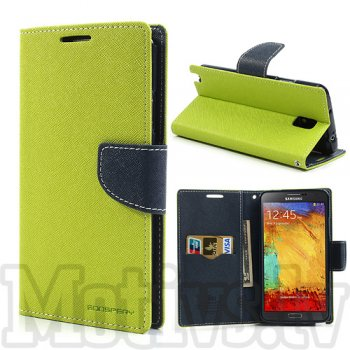 Samsung Galaxy Note 3 III N9000 N9002 N9005 Mercury Goospery Fancy Diary Wallet Stand Case Cover, Green/Navy
