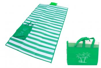 Beach Folding Blanket + Pillow + Bag Set, Green