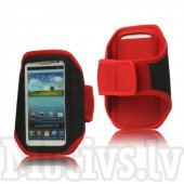 Sport Armband pouch case Size M for Samsung Galaxy S3 S4 S5, iPhone 5s 5c, HTC One M7 M8, LG L7 L9, Nokia Lumia, Sony Xperia Z1 – Red, universālais sp