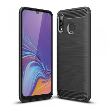 Samsung Galaxy A40 (SM-A405F) Carbon Fiber Brushed TPU Gel Case Bumper Cover, black - vāks bamperis