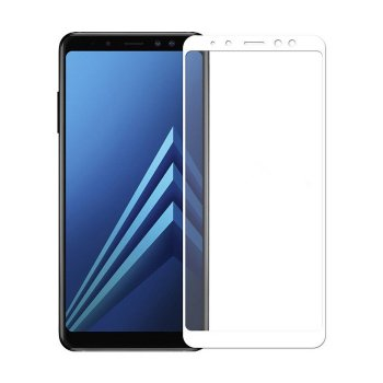 5D Full Screen Full Glue Tempered Glass Protector for Samsung Galaxy A8 2018 (A530F), White | Ekrāna aizsargstikls, Balts