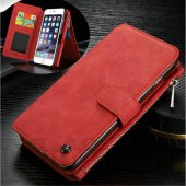 "Apple iPhone 6 6S 4.7"" Multi-slot Split Leather Wallet Case Cover, red - vāks maks"