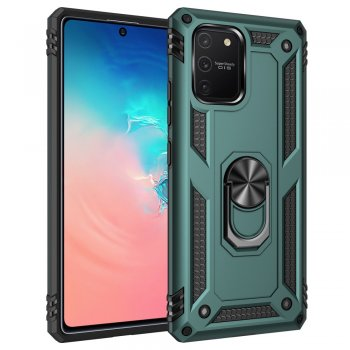 Samsung Galaxy S10 Lite (SM-G770F) PC + TPU Combo Case Cover with Ring Kickstand, Green | Vāks bamperis