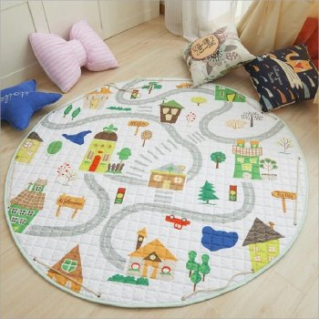 Mat for Children City Streets Houses 144cm