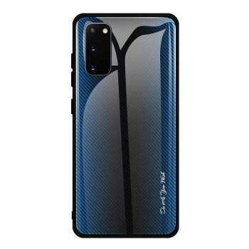Samsung Galaxy S20 Carbon Fibre Texture Glass Back + TPU Combo Case, Blue | Vāks bamperis, Zils