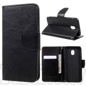 Samsung Galaxy J3 2017 SM-J330 Crazy Horse PU Leather Card Wallet Cover Case Stand, black – vāks maks