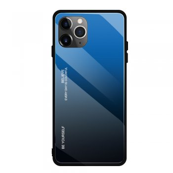 Apple iPhone 11 Pro Gradient Glass TPU + PC Phone Case - Blue / Black | Telefona vāciņš bamperis