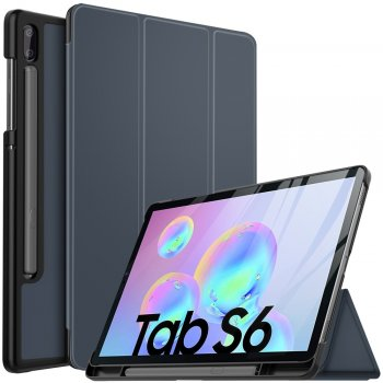 Samsung Galaxy Tab S6 (SM-T860, SM-T865) - Vāks apvalks pārvalks | Tri-fold Stand Leather Case Cover with Pen Holder, Dark Blue