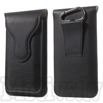 Universal Size L 2 Pocket Leather Pouch Belt Bag for iPhone Samsung LG Sony HTC Huawei Lenovo, black - universāls maks