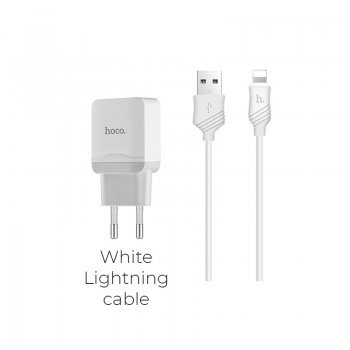 Hoco C22A Wall Charger + USB / Lightning Iphone Apple Cable 1M, White | Провод для зарядки с адаптером