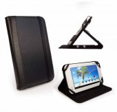 Tuff-luv Slim-Stand Leather Case cover for Pocketbook Surfpad - 'Carbon' Black