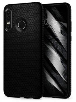 Huawei P30 lite (MAR-LX1M) Spigen Liquid Air TPU Case, black | Vāks bamperis, Melns