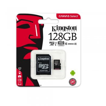 Kingston Canvas Select 128GB microSD Memory Card (Class 10 UHS-I U1 SDHC 80MB/s read) - atmiņas karte