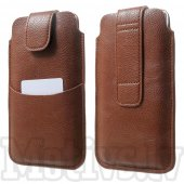 Universal Size L Litchi Leather Pull Tab Pouch Sleeve Bag Belt Pocket for Samsung Galaxy Note 3 4 iPhone 6 Plus, brown - izvelkams maciņš