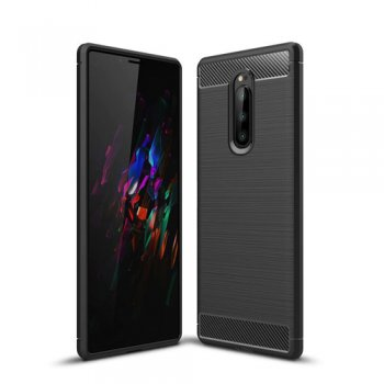 Sony Xperia 1 (J9110) Carbon Fiber Brushed TPU Gel Case Bumper Cover, black - vāks bamperis