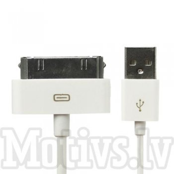 USB Data Sync Charger Cable 30 Pin for Apple Iphone 3 4 4S, iPad 1/2/3, iPod, white – kabelis, vads, 1m