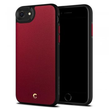 "Apple iPhone 7 / 8 / SE (2020) 4.7"" Spigen Ciel Leather Brick Case Cover, Red"