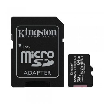 Kingston Canvas Select Plus 64GB microSD Memory Card (Class 10 UHS-I SDHC 100 MB/s read) + Adapter - atmiņas karte