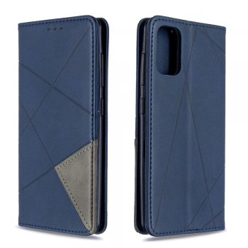 Samsung Galaxy A41 (SM-A415F) Geometric Leather Phone Case Cover Card Holder Shell, Blue