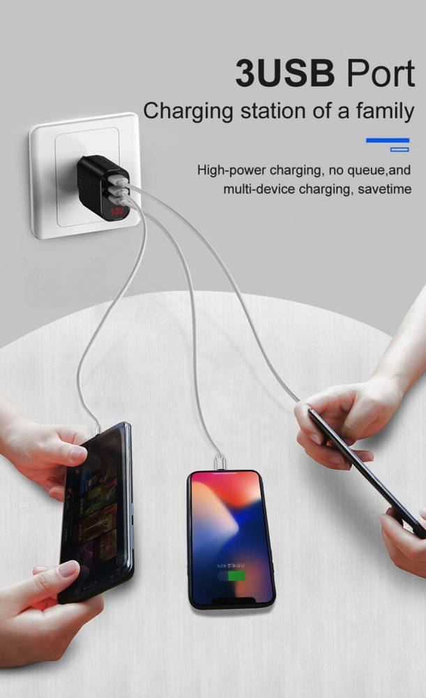 Baseus wall charger Mirror lake 3 USB 3.4A with display, Black | Lādētājs, Adapters, Melns (3)