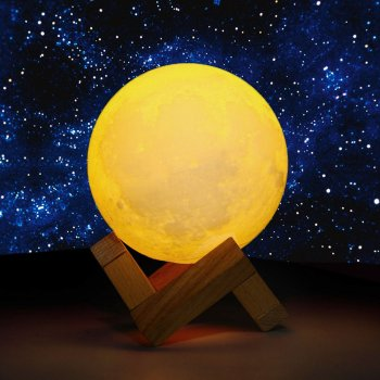 Decorative Night LED Lamp 3D Moon, 8 cm