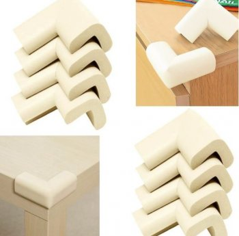 Child Baby Safety L-Shape Table Corner Protector Cushion, Beige - 4 pcs