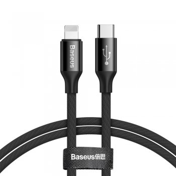 Baseus Yiven USB-C / Lightning Cable with Material Braid 2A 1M, Black | Lādētājvads Datu Pārraidei