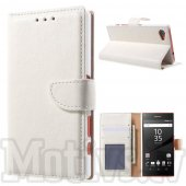 Sony Xperia Z5 Compact Mini E5803 E5823 Leather Cover Stand Case - White, vāks macīņš