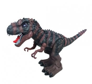 Battery Operated Tyrannosaurus T-Rex Walking Dinosaur Toy with Flash Eyes and Realistic Roaring Sounds. brown