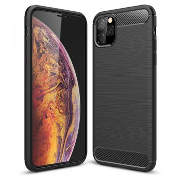 Apple iPhone 11 Pro Carbon TPU Gel Case Bumper Cover, black - silikona vāks maks apvalks