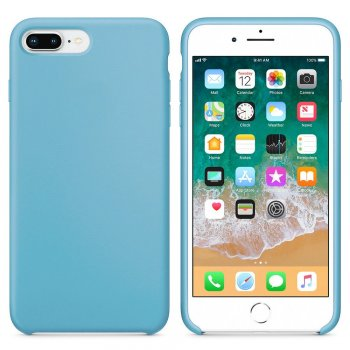"Apple iPhone 7 8 Plus 5.5"" Silicone Soft Flexibe Cover, Light blue 