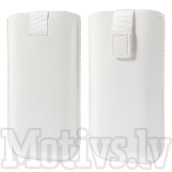 "Universal Pull Tab Pouch Sleeve Bag for 5"" phones 145 x 78 mm, white - izvelkams maciņš"