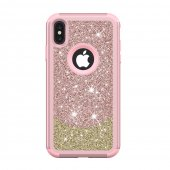 "Apple iPhone XS Max 6.5"" Diamond PC Hybrid Drop-proof Case, Rose Gold - ciets spīdīgs maciņš, vāciņš"