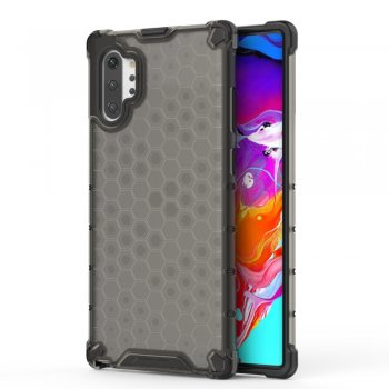 Honeycomb Pattern Shock-proof TPU + PC Hybrid Case for Samsung Galaxy Note 10 Plus (SM-N975F) - Black
