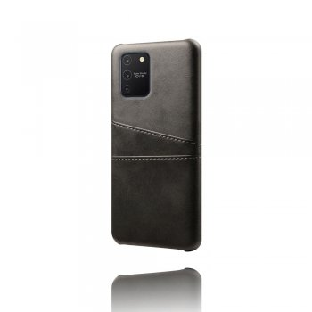 Samsung Galaxy S10 Lite (SM-G770F) PU Leather Coated Hard PC Case Cover - Black | Vāks bamperis