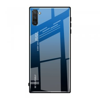 Samsung Galaxy Note 10 Plus (SM-N975F) Gradient Tempered Glass TPU + Glass Back Cover - Blue / Black