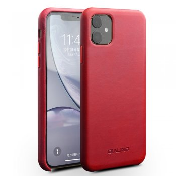 Apple iPhone 11 6.1'' QIALINO Original Genuine Leather Phone Back Case, Red | Чехол для телефона