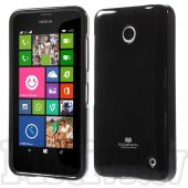 Nokia Lumia 630 / DS Dual SIM RM-978 635 RM-974 Mercury Glitter Powder Jelly TPU Case Cover Shell, black - vāks bamperis