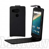 LG Google Nexus 5X H791 Vertical Flip Leather Magnetic Cover Case, black - maks maciņš vāks vāciņš