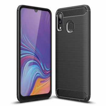 Samsung Galaxy A30 (SM-A305F/DS) Carbon Fiber Brushed TPU Gel Case Bumper Cover, black - vāks bamperis